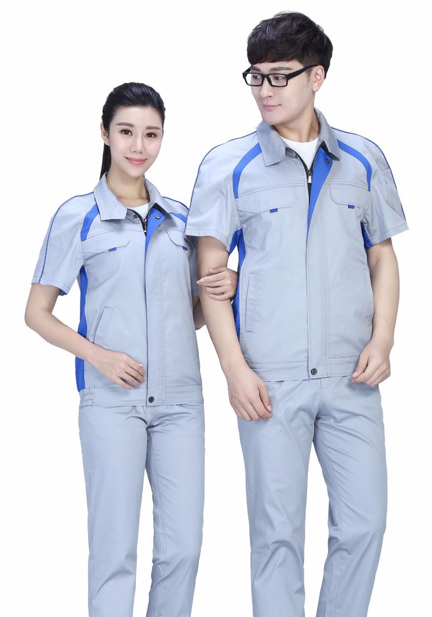 新时尚配色夏季涤棉细纹短袖工作服FY635