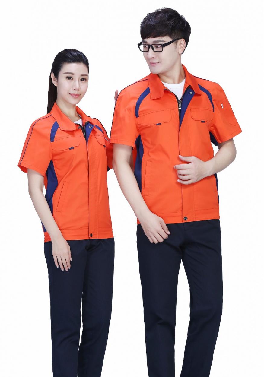 新桔红+深裤时尚配色夏季涤棉细纹短袖工作服
