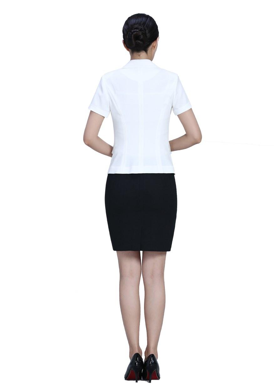 新款白色半袖职业套装