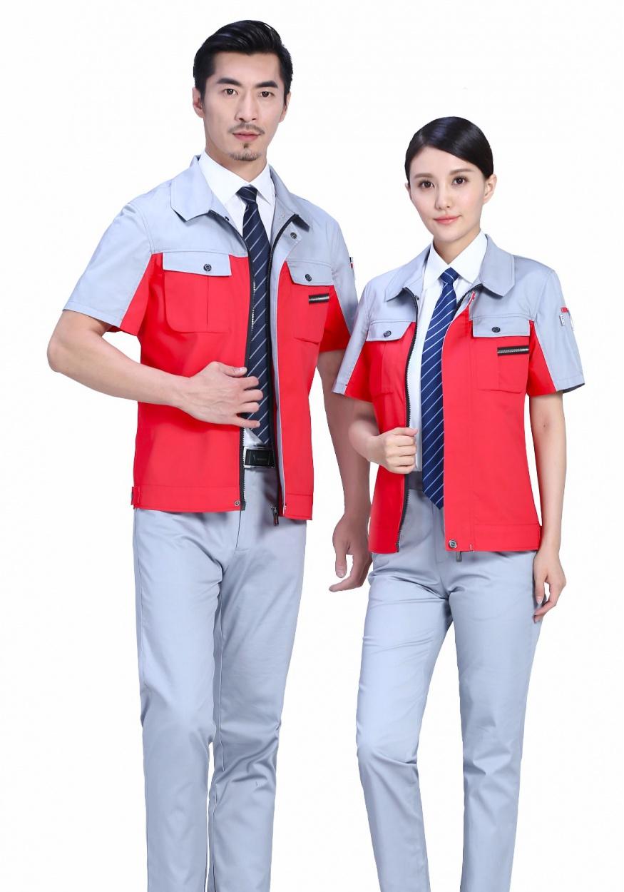 新红色拼灰时尚色彩涤棉细斜夏季短袖工作服FY619