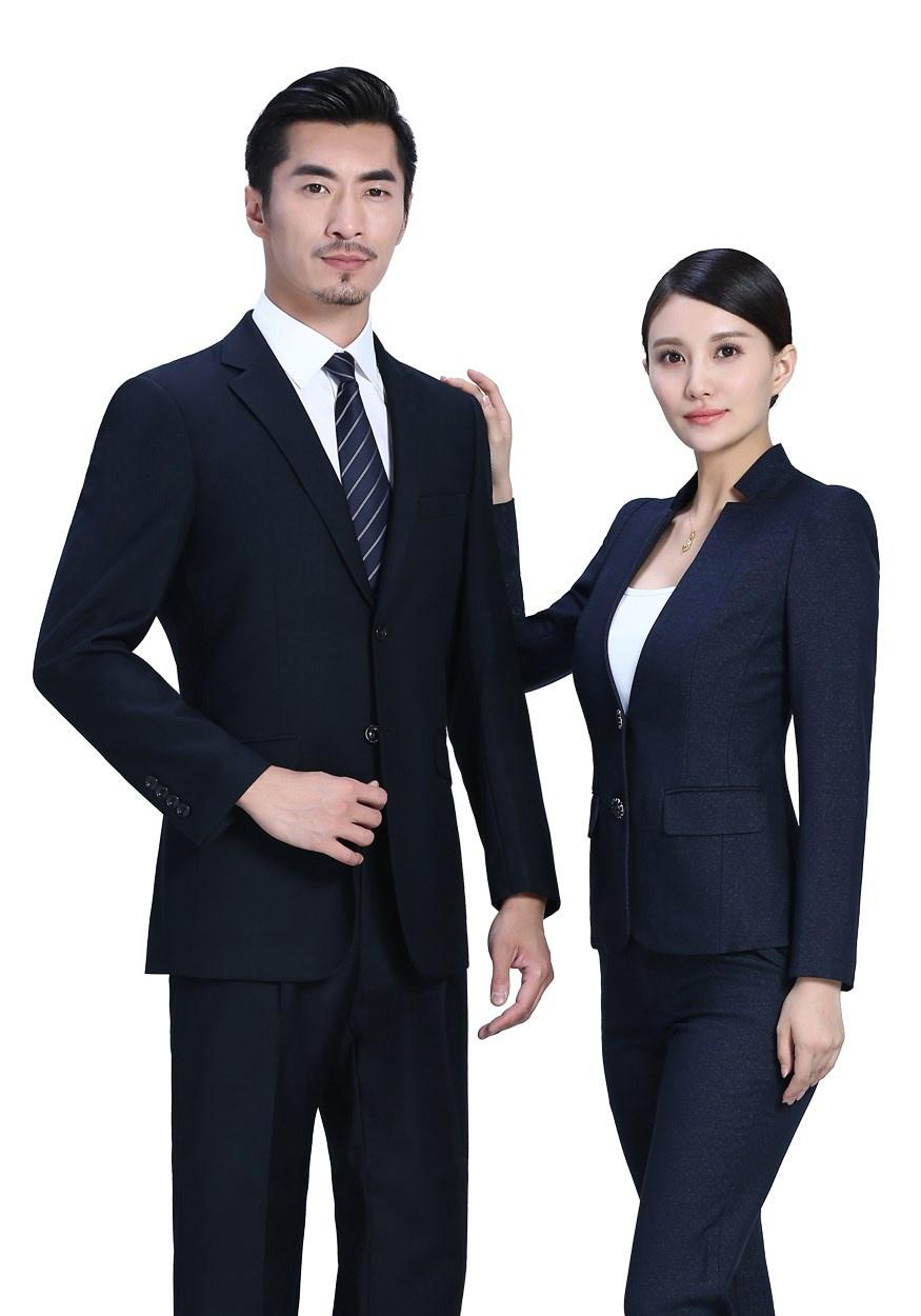 新深蓝色时尚开领两粒扣女士职业装