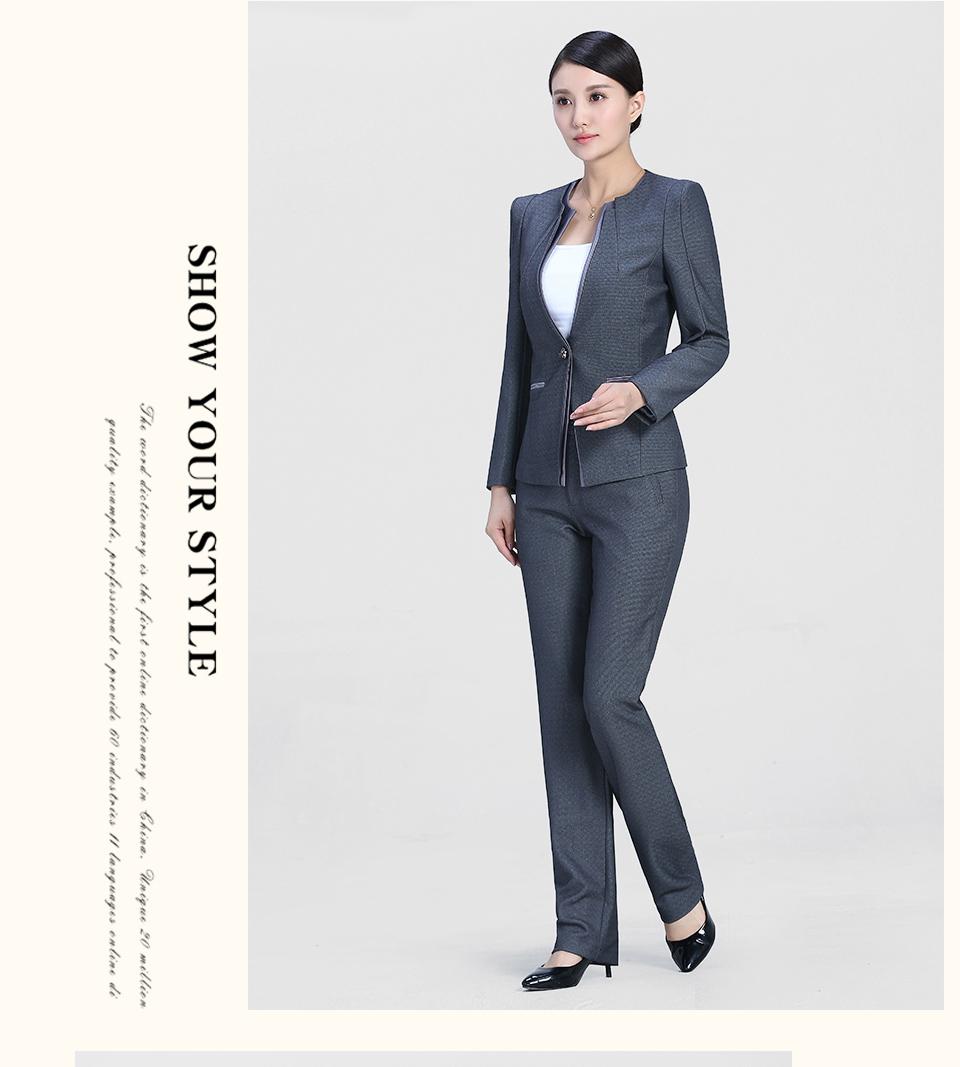 中灰色时尚一粒扣职业装女装