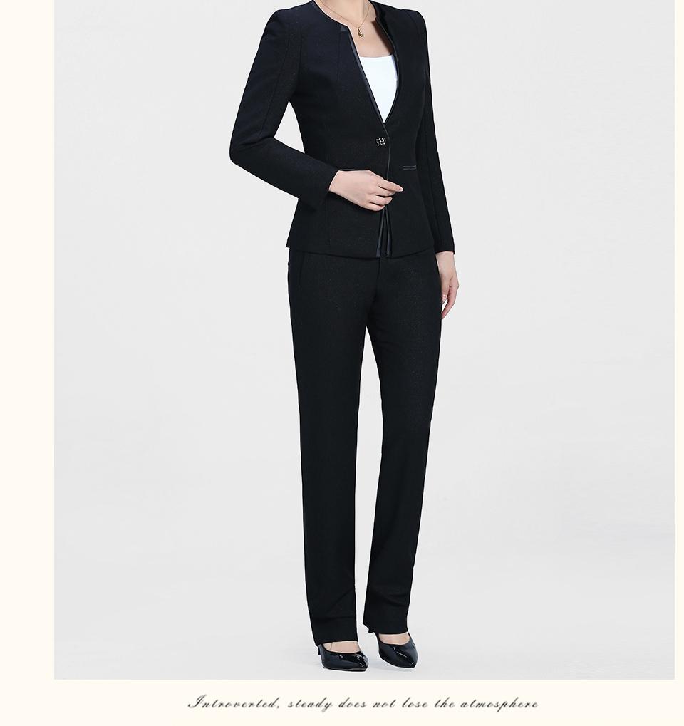 黑色V领时尚职业女装