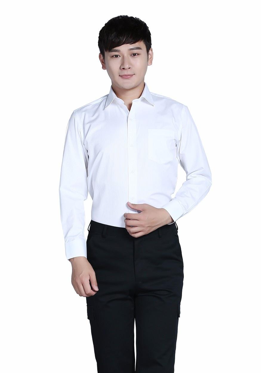 新款衬衫白色男白色商务V领长袖衬衫