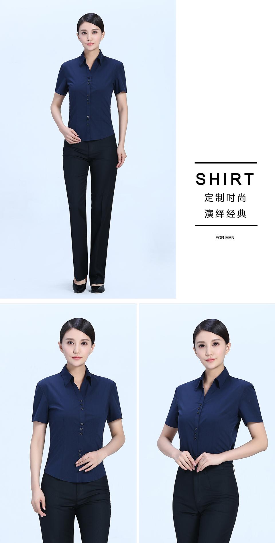 新款衬衫藏蓝女藏蓝V领短袖衬衫