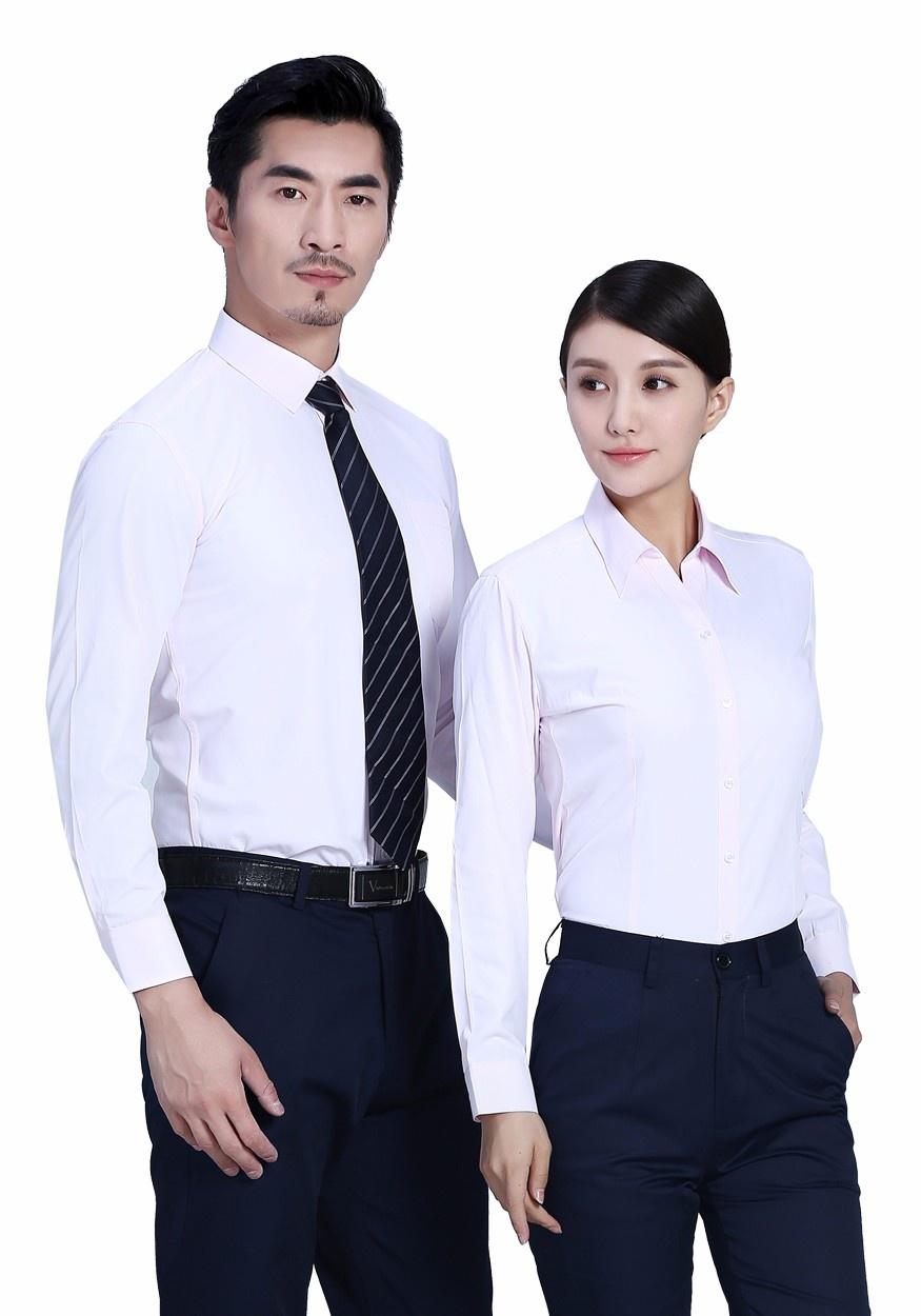 2019新款粉色商务长袖衬衫