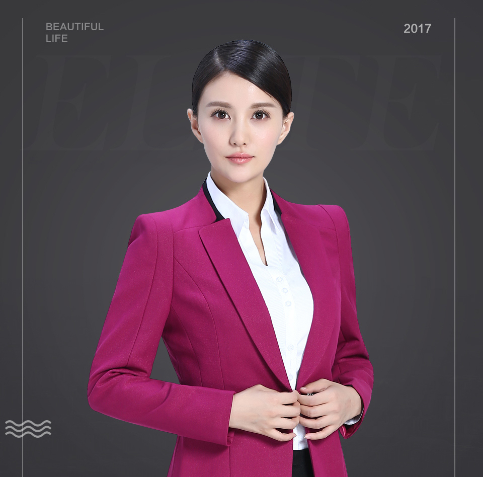 2019新玫红色商务女装FX11