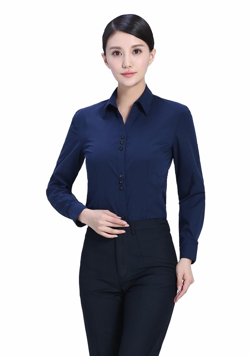 2019新款衬衫藏蓝女藏蓝V领长袖衬衫