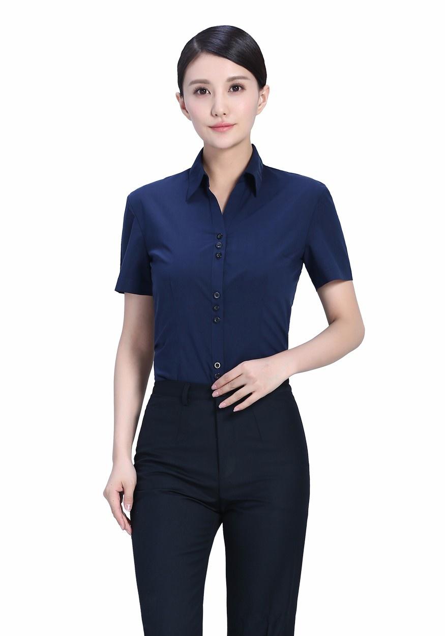 2019新款衬衫藏蓝女藏蓝V领短袖衬衫