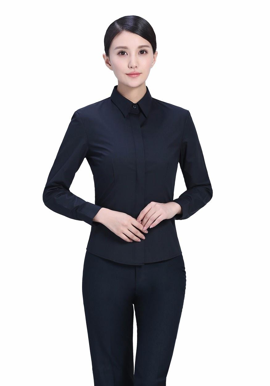 2019新款衬衫黑色女黑色暗扣商务西服长袖衬衫