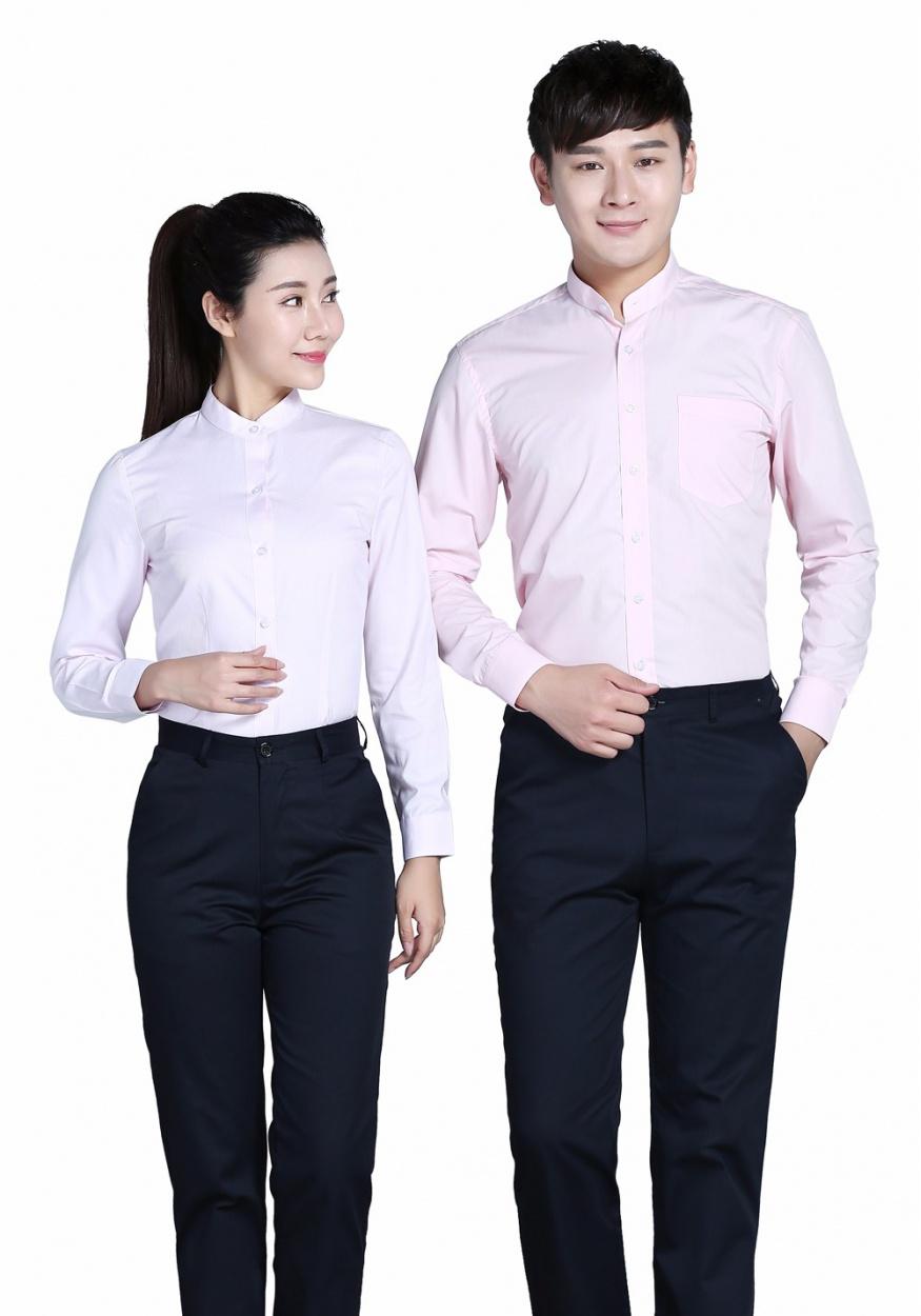 2019新款衬衫粉色女粉色立领长袖衬衫