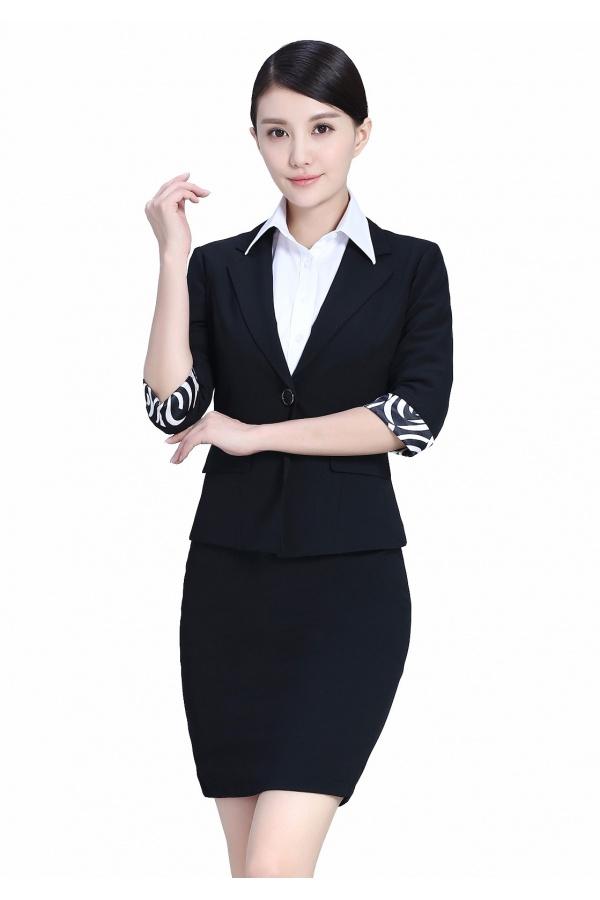 2019新款黑色夏装半袖职业装女装