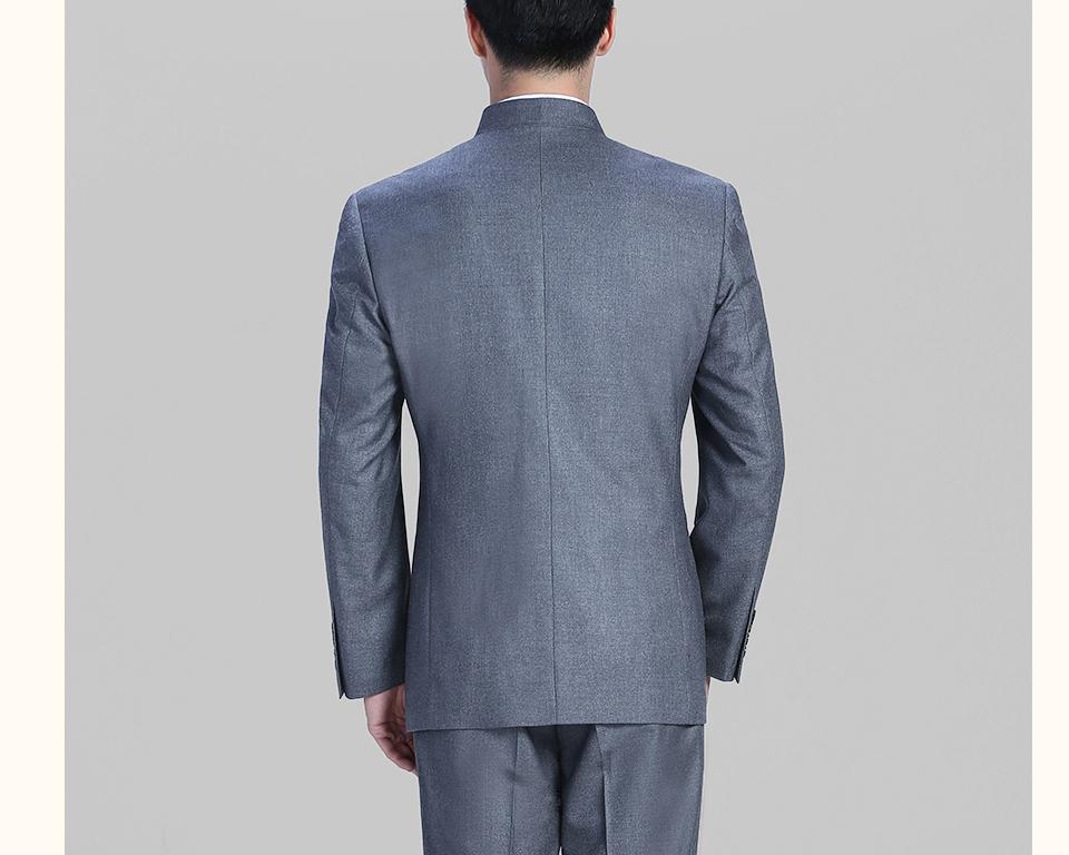2019新款灰色休闲中华立领男士套装FX10