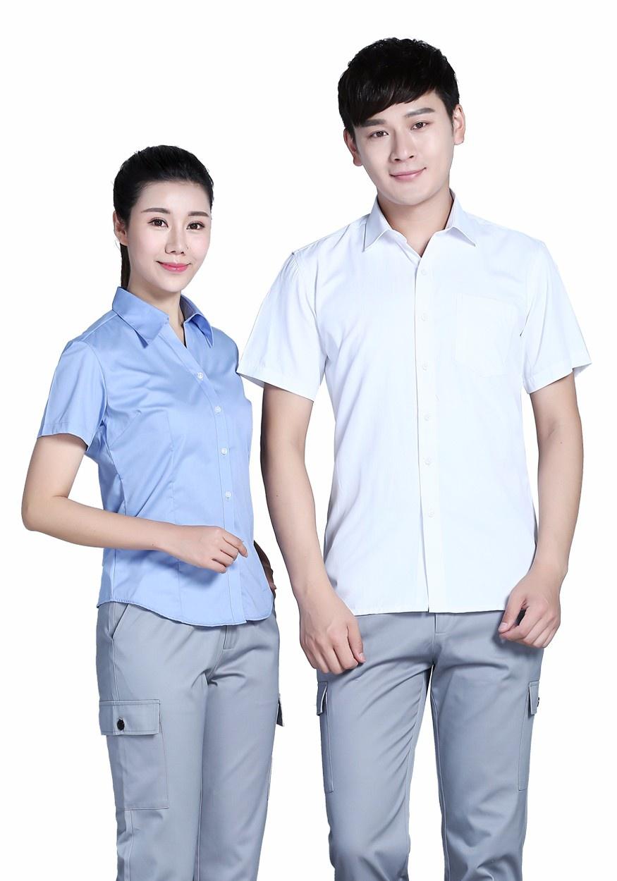 2019新款全棉蓝色V领短袖衬衫