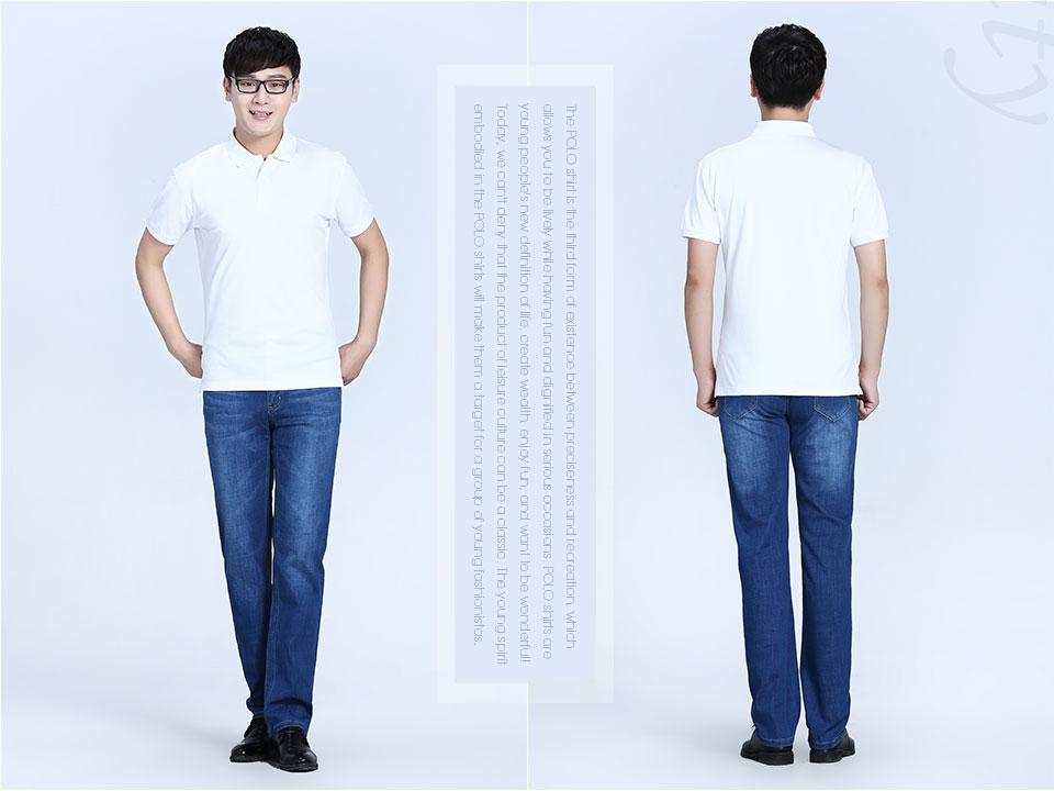2019新款白色反面双纱POLO衫T恤