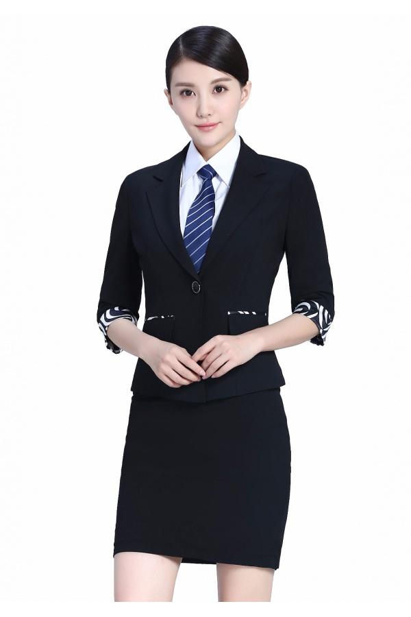 2019新款黑色女夏装半袖职业装