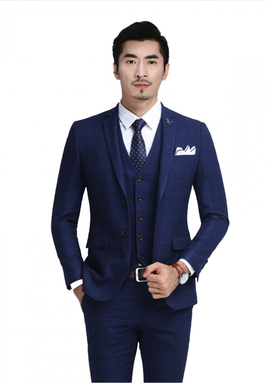 2019新款蓝色商务男士西装西服